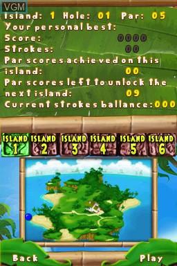Menu screen of the game 101 MiniGolf World on Nintendo DSi
