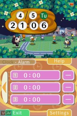 In-game screen of the game Animal Crossing Clock on Nintendo DSi