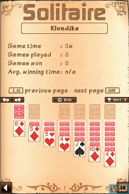 In-game screen of the game 24-7 Solitaire on Nintendo DSi
