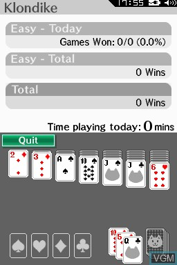 In-game screen of the game 2-in-1 Solitaire on Nintendo DSi