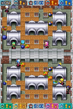 In-game screen of the game Bomberman Blitz on Nintendo DSi