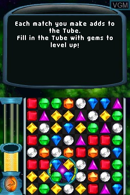 In-game screen of the game Bejeweled Twist on Nintendo DSi
