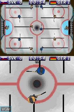 In-game screen of the game Ice Hockey Slovakia 2011 on Nintendo DSi
