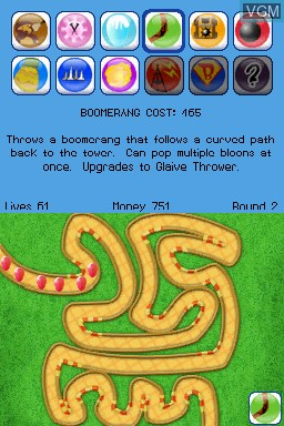 In-game screen of the game Bloons TD on Nintendo DSi