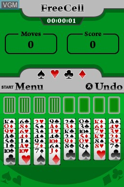 In-game screen of the game 5 in 1 Solitaire on Nintendo DSi