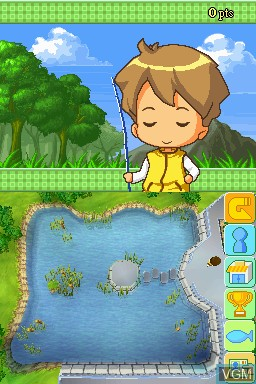 In-game screen of the game Hooked on Bass Fishing on Nintendo DSi