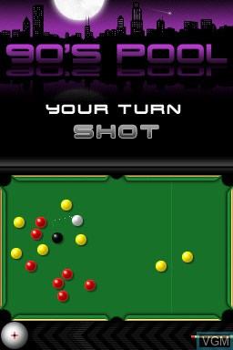 In-game screen of the game 90's Pool on Nintendo DSi