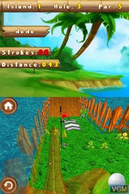 In-game screen of the game 101 MiniGolf World on Nintendo DSi