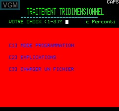 Title screen of the game 3D Editor by Loriciel on Tangerine Computer Systems Oric