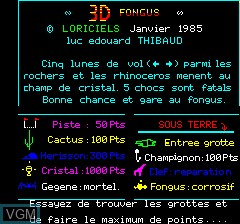 Title screen of the game 3D Fongus on Tangerine Computer Systems Oric