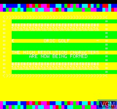 Title screen of the game 48k Oric Golf on Tangerine Computer Systems Oric