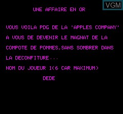 Title screen of the game Affaire En Or, Une on Tangerine Computer Systems Oric