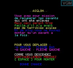 Title screen of the game Aiglon on Tangerine Computer Systems Oric