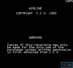 Title screen of the game Airline on Tangerine Computer Systems Oric