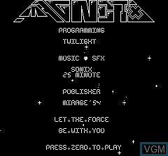 Title screen of the game Magnetix by Twilighte on Tangerine Computer Systems Oric