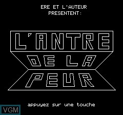 Title screen of the game Antre De La Peur, Le on Tangerine Computer Systems Oric