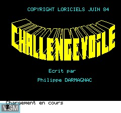 Title screen of the game Challenge Voile on Tangerine Computer Systems Oric