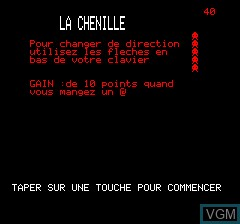 Title screen of the game Chenille Infernale on Tangerine Computer Systems Oric