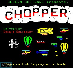 Title screen of the game Chopper on Tangerine Computer Systems Oric