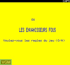 Title screen of the game Ciro ou Les Envahisseurs Fous on Tangerine Computer Systems Oric