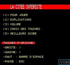Title screen of the game Citee Interdite, La on Tangerine Computer Systems Oric