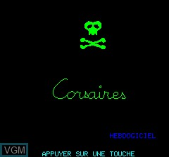 Title screen of the game Corsaires on Tangerine Computer Systems Oric
