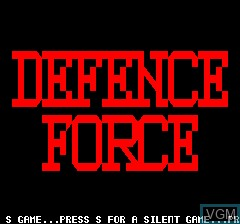 Title screen of the game Defense Force on Tangerine Computer Systems Oric