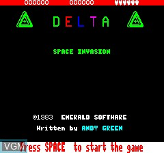 Title screen of the game Delta Force 4 - Space Invaders on Tangerine Computer Systems Oric