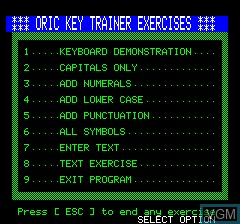 Title screen of the game Keyboard Trainer on Tangerine Computer Systems Oric