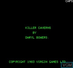 Title screen of the game Killer Caver NS on Tangerine Computer Systems Oric