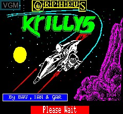 Title screen of the game Krillys on Tangerine Computer Systems Oric