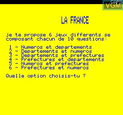 Title screen of the game La France Quiz on Tangerine Computer Systems Oric