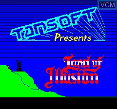 Title screen of the game Land of Illusion on Tangerine Computer Systems Oric