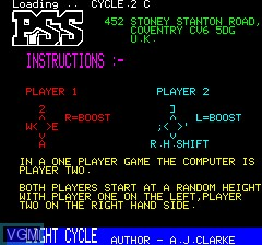 Title screen of the game Light Cycle on Tangerine Computer Systems Oric