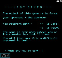 Title screen of the game Lightbikes on Tangerine Computer Systems Oric