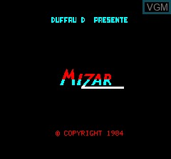 Title screen of the game Mizar on Tangerine Computer Systems Oric