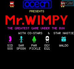 Title screen of the game Mr. Wimpy on Tangerine Computer Systems Oric