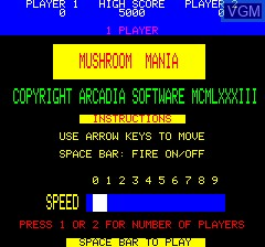 Title screen of the game Mushroom Mania on Tangerine Computer Systems Oric