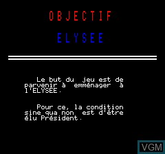 Title screen of the game Objective Elysee on Tangerine Computer Systems Oric