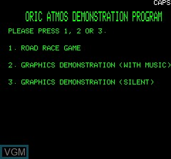 Title screen of the game Oric Atmos Demonstration Program on Tangerine Computer Systems Oric