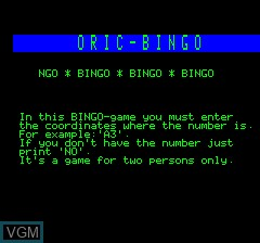 Title screen of the game Oric Bingo on Tangerine Computer Systems Oric