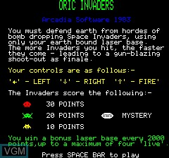 Title screen of the game Oric Invaders on Tangerine Computer Systems Oric
