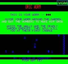 Title screen of the game Oric Worm on Tangerine Computer Systems Oric
