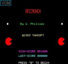 Title screen of the game Oricmunch on Tangerine Computer Systems Oric