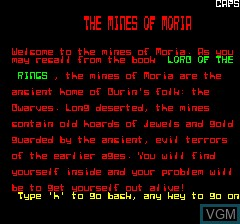 Title screen of the game Mines of Moria, The on Tangerine Computer Systems Oric