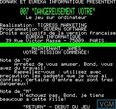 Menu screen of the game 007 - Dangereusement Votre on Tangerine Computer Systems Oric