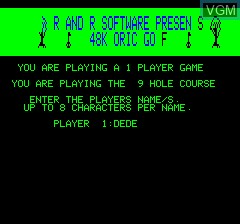 Menu screen of the game 48k Oric Golf on Tangerine Computer Systems Oric