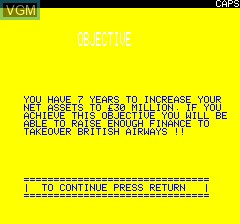 Menu screen of the game Airline on Tangerine Computer Systems Oric