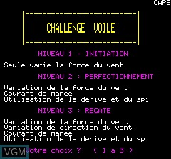 Menu screen of the game Challenge Voile on Tangerine Computer Systems Oric