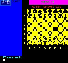 Menu screen of the game Chess II on Tangerine Computer Systems Oric